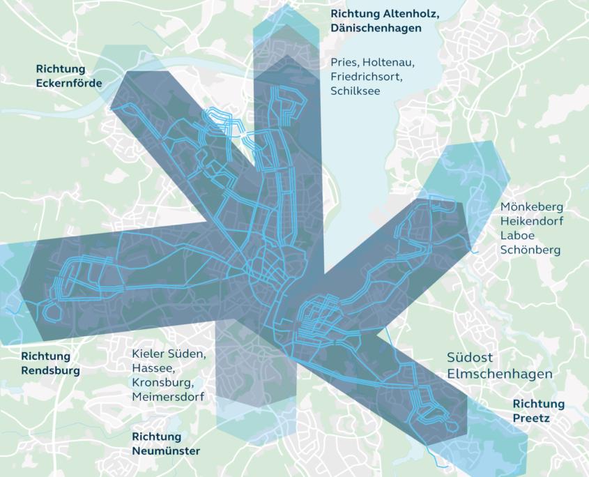 Die vorläufigen Trassenvarianten in den jeweiligen Korridoren des hochwertigen ÖPNV-Systems in Kiel